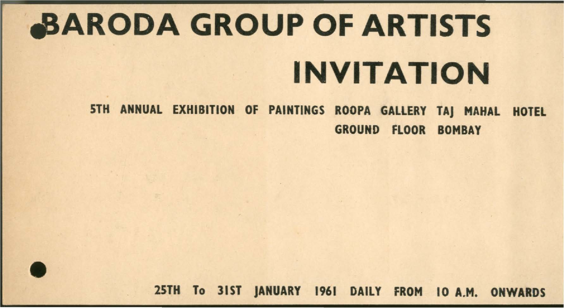 Collection search baroda group of artists fifth annual baroda group of artists fifth annual exhibition of paintings invitation stopboris Choice Image