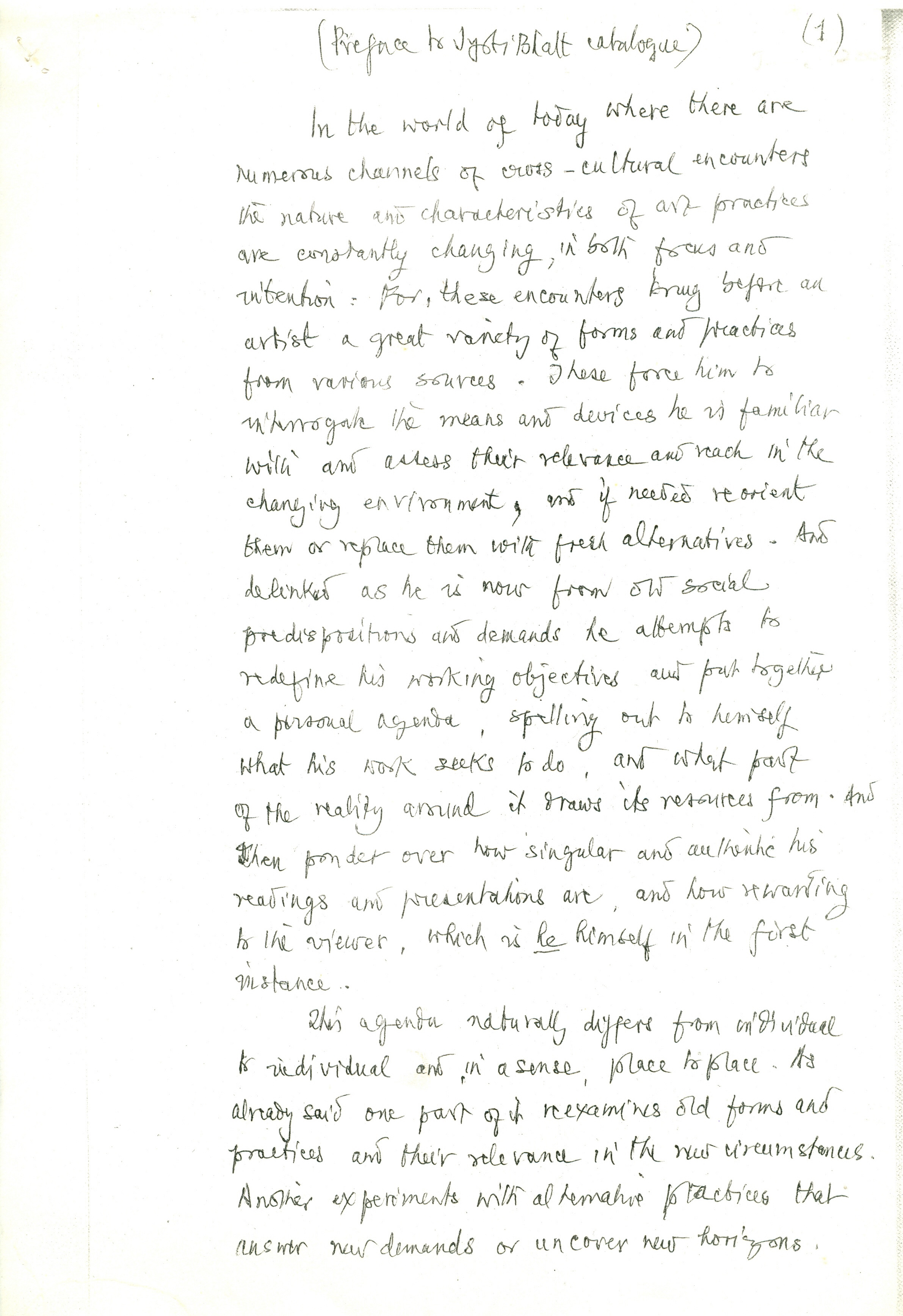 Preface to Jyoti Bhatt Catalogue