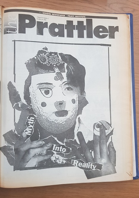 Image: The cover of a 1992 special issue of the <i>Prattler</i> focused specifically on racism against Koreans, illustrated by John Simonson. Courtesy of the Pratt Institute Archive.