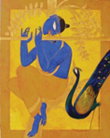 Shuvaprasanna, Golden Flute, 2005, Oil on canvas.