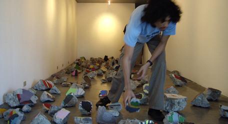 Image: Poklong Anading, <i>Fallen Map</i> (installation view), 2008. Courtesy of Magnet Gallery.
