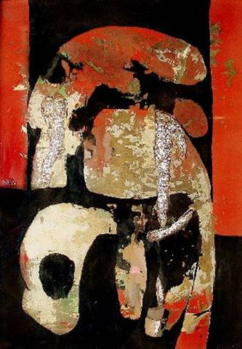 Image: Nguyễn Lam, <i>Abstract</i>, 2005, lacquer on canvas.