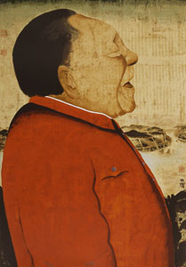 "2006 <br />Silkscreen print <br />77 x 54 cm <br />Edition: 21/89 <br />Donated by the artist. <br />Zhu Wei's China China is a portrait of Deng Xiaoping, inspired by a newspaper photograph of the late Chinese ""paramount leader"" receiving a group of diplomats. Known for political artwork that feels deeply personal, Zhu in this silkscreen quietly comments on the power and political presence of the former Chairman, the architect of China's economic reforms. China China is an outstanding example of Zhu's technique of placing paper over a rough surface and covering it with a wash of yellow paint, resulting in a uniquely textured appearance"