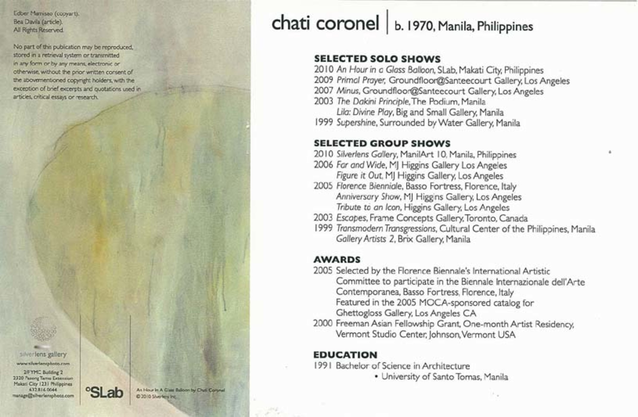 Collection | Search | Chati Coronel: An Hour In a Glass Balloon ...