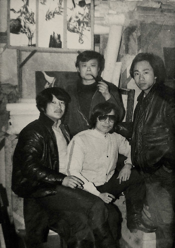 Group photo of artists in Four Men Printmaking Exhibition