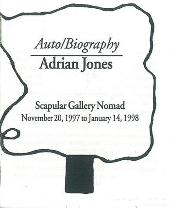 Adrian Jones AutoBiography (Scapular Gallery Nomad November 20,1997 to January 14, 1998)_Cover