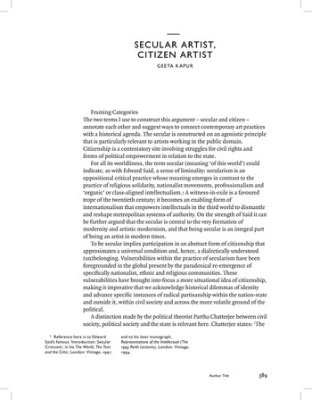 Secular Artist, Citizen Artist