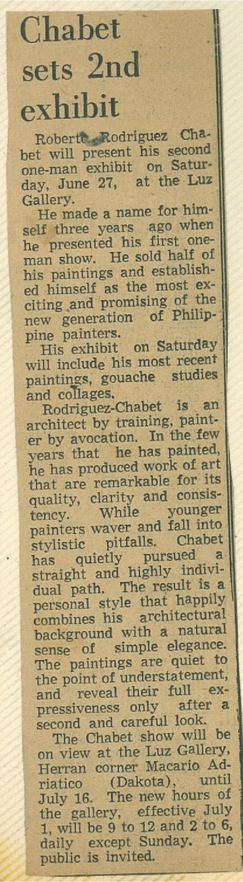Chabet sets 2nd exhibit
