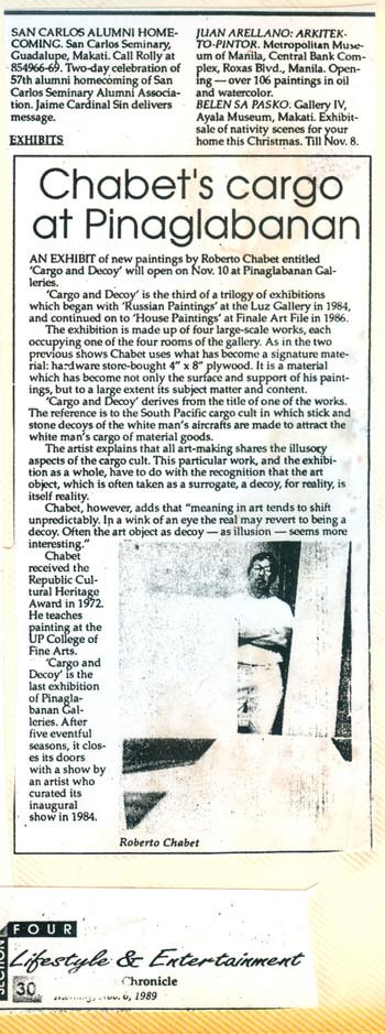Chabet's Cargo at Pinaglabanan (Press Release)