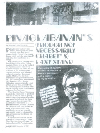 Pinaglabanan's (Though Not Necessarily Chabet's) Last Stand