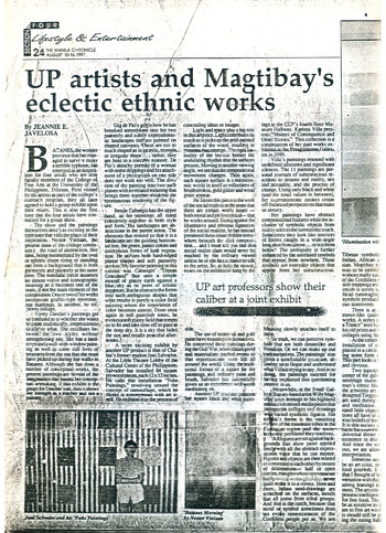 UP Artists and Magtibay's Eclectic Ethnic Works