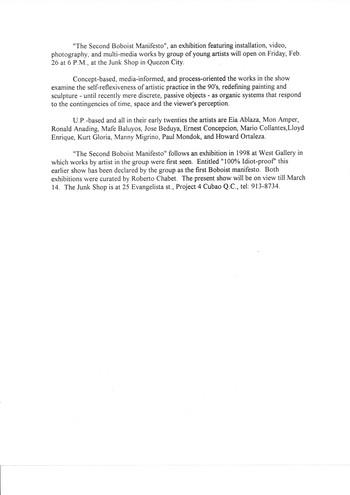 The Second Boboist Manifesto — Press Release