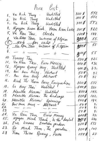 Handwritten Price List of Works Presented in Gap Viet Nam