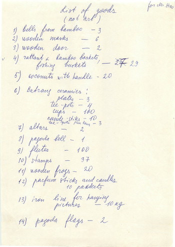 List of Objects Presented in Spirit of Hanoi (Draft)