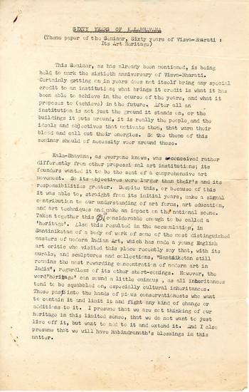 Sixty Years of Kalabhavana