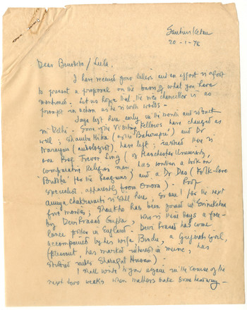 Letter from K.G. Subramanyan to Benodebehari and Leela Mukherjee, 20 January 1978
