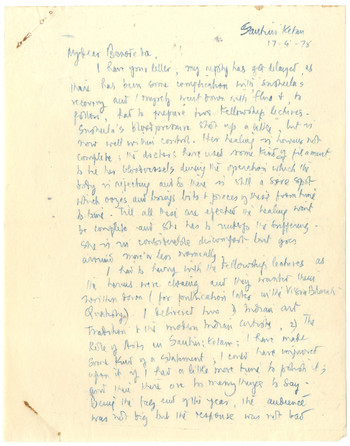 Letter from K.G. Subramanyan to Benodebehari Mukherjee, 17 April 1978