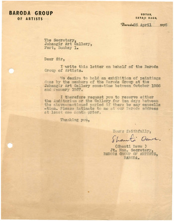 Letter from Shanti Dave to the Secretary of Jehangir Art Gallery, 25 April 1956