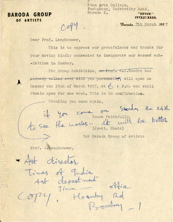 Letter from Jyoti Bhatt to Prof. Walter Langhammer, 7 March 1957