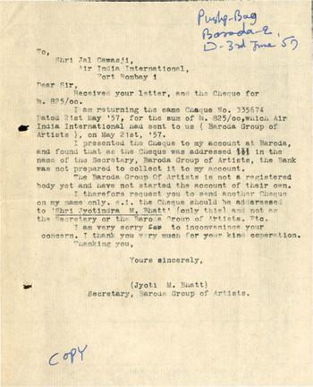 Letter from Jyoti Bhatt to Jal Cawasji, Air India International, 3 June 1957