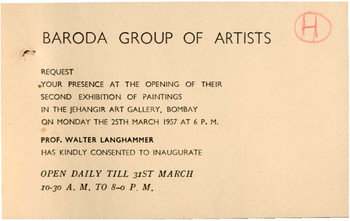 Baroda Group of Artists: Second Exhibition of Paintings — Invitation