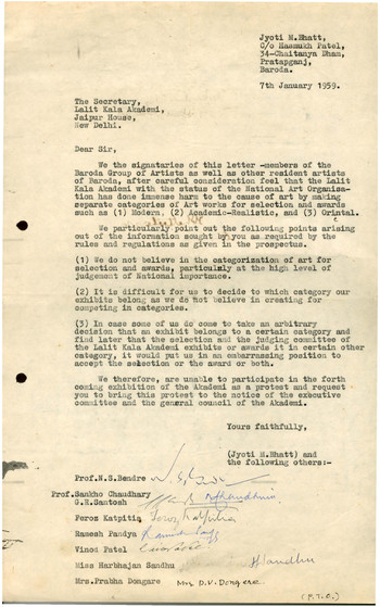 Letter from the Baroda Group of Artists to the Secretary of Lalit Kala Akademi, 7 January 1959