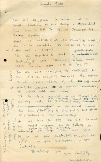 Letter Regarding Baroda Group of Artists: Fourth Show (Draft)