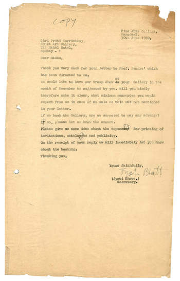 Letter from Jyoti Bhatt to Priti Currimbhoy, 30 June 1960
