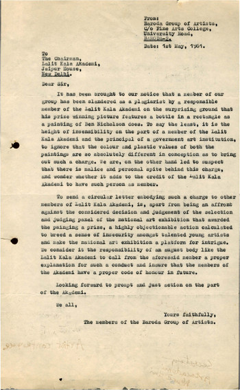 Letter from the Baroda Group of Artists to the Chairman of Lalit Kala Akademi, 1 May 1961