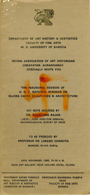 National Seminar on Ellora Caves Sculpture and Architecture — Brochure