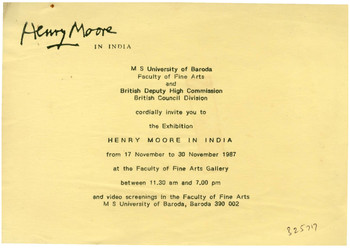 Henry Moore in India — Invitation