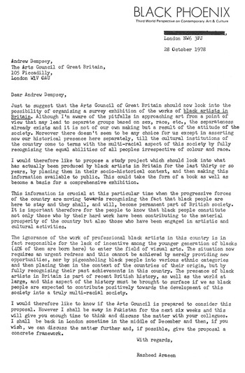 Letter from Rasheed Araeen to Andrew Dempsey, 28 October 1978