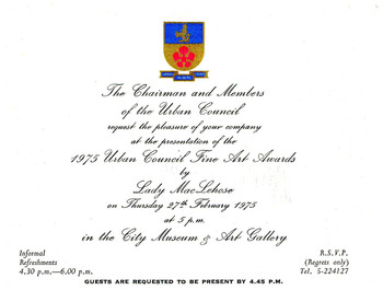 1975 Urban Council Fine Art Awards — Invitation