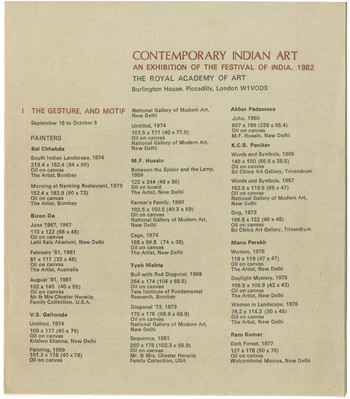 Contemporary Indian Art: An Exhibition of the Festival of India, 1982 — Catalogue