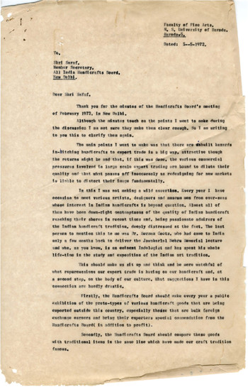 Letter from K.G. Subramanyan to Member Secretary, All India Handicrafts Board, 5 May 1972