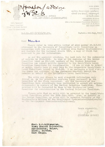 Letter from Chitkala Zutshi to K.G. Subramanyan, 28 May 1992