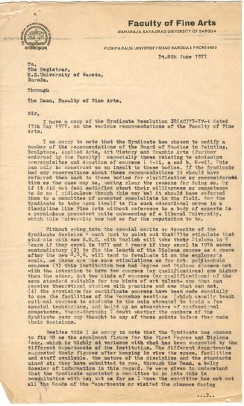 Letter from K.G. Subramanyan to The Registrar of The Maharaja Sayajirao University of Baroda, 8 June