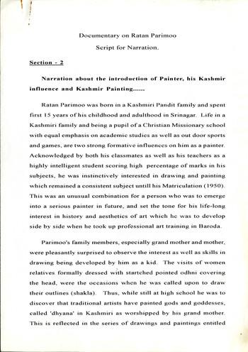 Documentary on Ratan Parimoo: Script for Narration