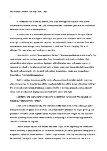 Our Words: Gerakan Seni Rupa Baru 1987