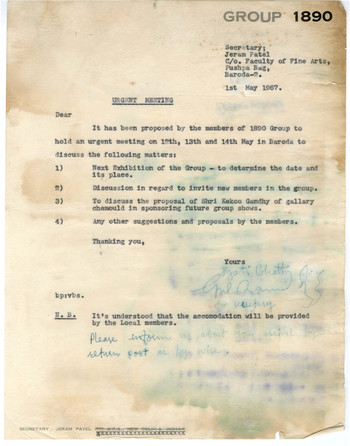 Letter from Gulammohammed Sheikh to Members of Group 1890, 1 May 1967