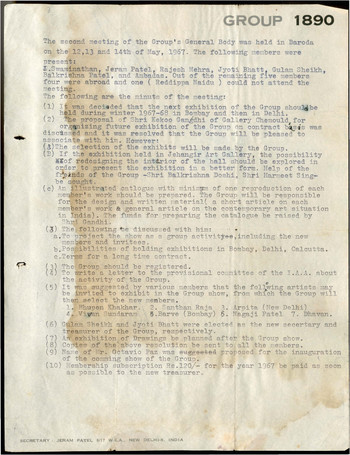 Minutes of  the General Body Meeting of Group 1890