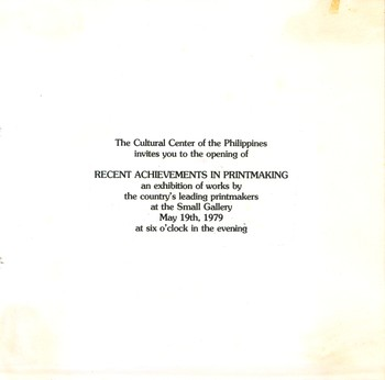 Recent Achievements in Printmaking — Exhibition Invitation