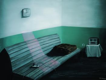 Green Wall: Wooden Bench