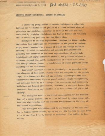 Roberto Chabet Rodriguez: Artist Of Promise (Press Release — Manuscript)