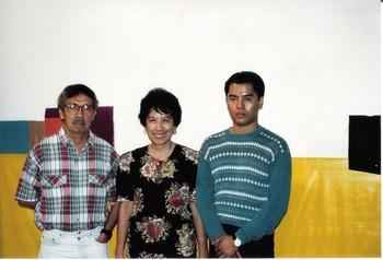 Roberto Chabet, Josie Lim Cruz and Trek Valdizno at an Exhibition Opening