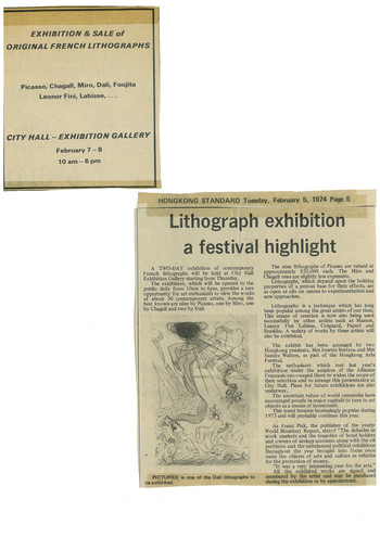 Newspaper Clippings about an Exhibition of Lithographs