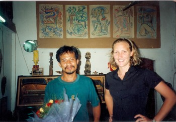 Nguyen Nhu Y with Anne Kristine Naes at the Opening of Naïve of Hanoi