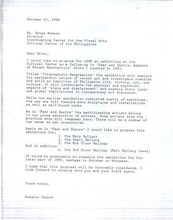 Letter to Ditas Samson