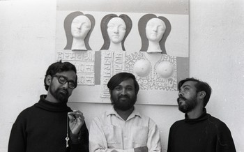 Gulammohammed Sheikh, Raghav Kaneria, and Himmat Shah at Fine Arts Fair, 1968