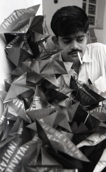 Vinod S. Patel Preparing for the Fine Arts Fair, 1968